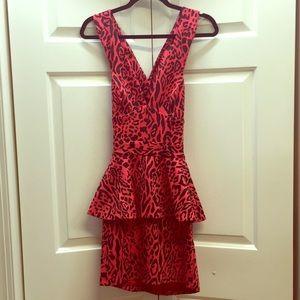 Sexy Red Leopard Print Peplum Dress w/ Cutout Back